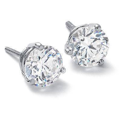 Three Prong Diamond Earrings